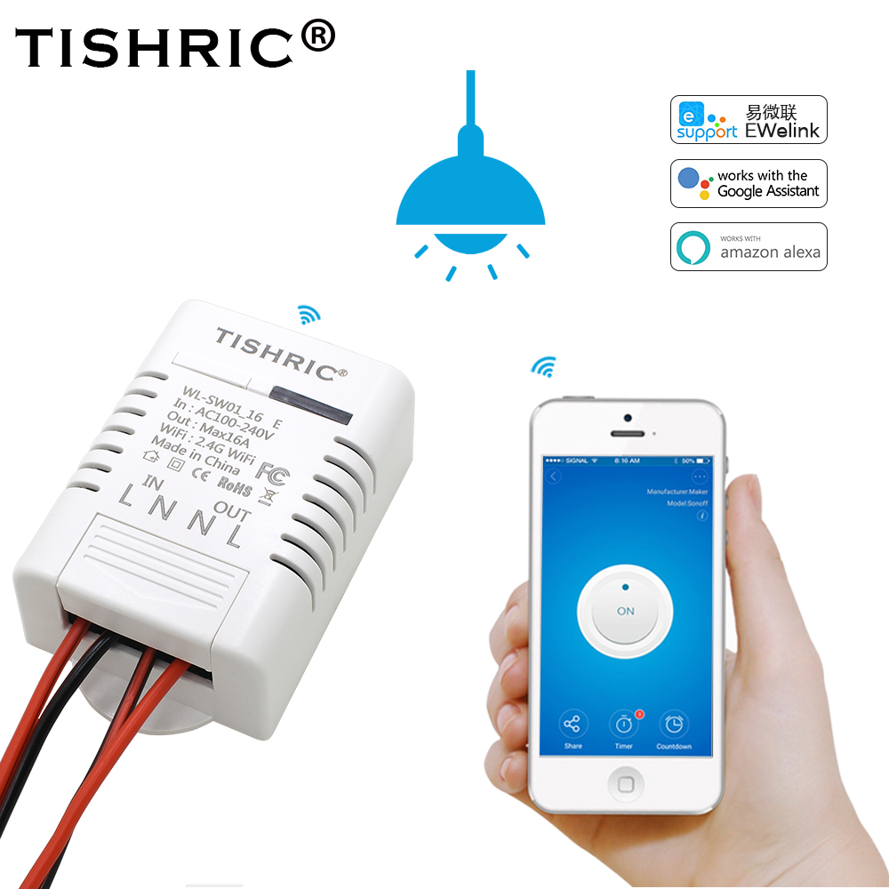 TISHRIC/SONOFF Basic WIFI Light Switch 220V/10A/16A For