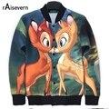 Raisevern Autumn Windbreak 3D Bambi Deer Print Jacket Cute Animal Printing Coat Cartoon Outerwear Outwear For Women Men
