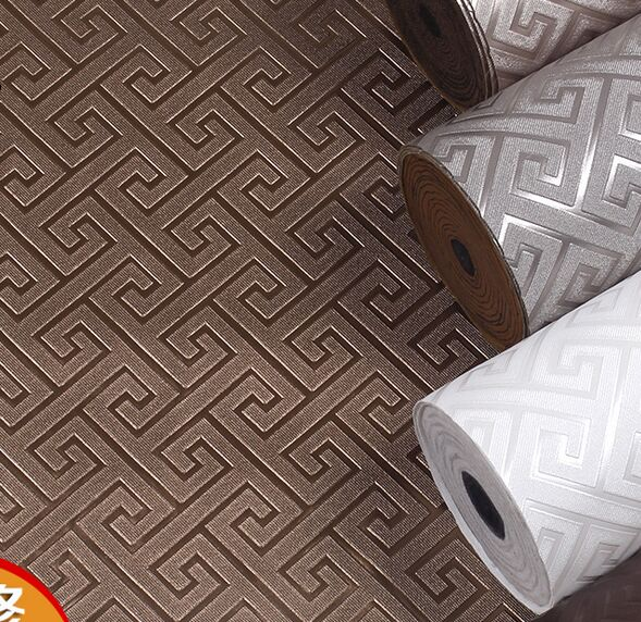 Contemporary modern geometric wallpaper leather neutral greek key design vinyl leather pvc wall - Key of create perfect contemporary style ...