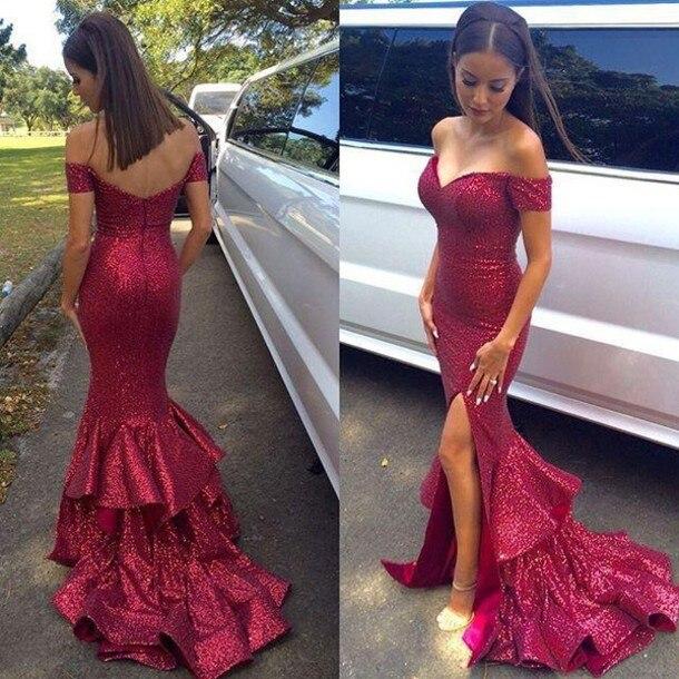 25354898a043f3 Burgundy Mermaid Sequin Long Dress Prom Boat Neck Sleeveless Off The  Shoulder Bling Bling Prom Dresses 2017 vestido de festa