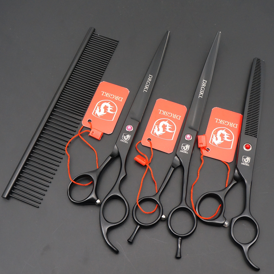 DRGSHK 3 PCS professional dog hair scissors set pet scissors suit, black paint 8.0 inch pet grooming scissors + bag pet attire sparkles dog collar 8 12in pink