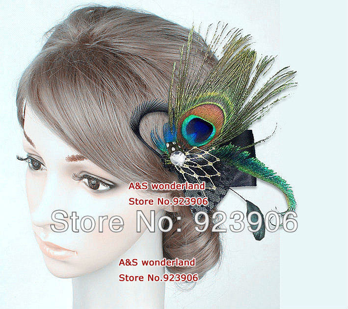 tienda online pluma de pavo real negro satinado blanco velo negro hairclip feather accesorios para el cabello pedazo del pelo facinator unidslote