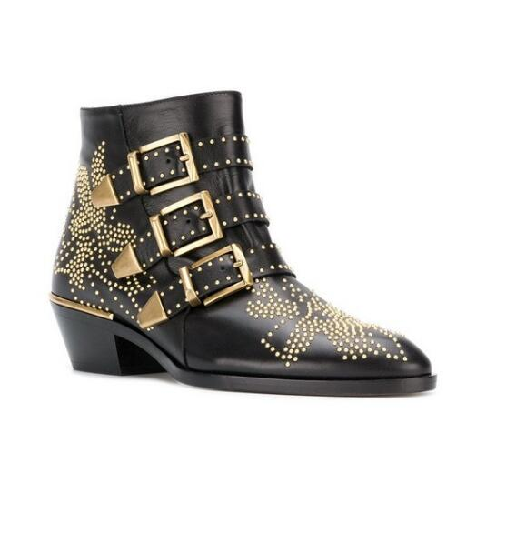 Autumn Winter ankle boots for women design buklce and gold rivets decoration red nude white wine blue demin studded boots Autumn Winter ankle boots for women design buklce and gold rivets decoration red nude white wine blue demin studded boots