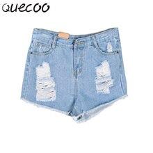 QUECOO S-XXL 2017 лето новые женские джинсы женщин моды отверстие шорты случайные штаны женщин
