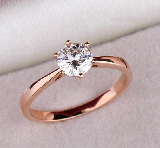 high quality elegant 12ct rose gold color large cz rhinestone rings 6 prong bridal wedding - Rose Gold Wedding Rings For Women