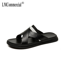 Genuine Leather sandals men's summer Sneakers Men Slippers Flip Flops casual Shoes beach outdoor all-match cowhide male Leisure все цены