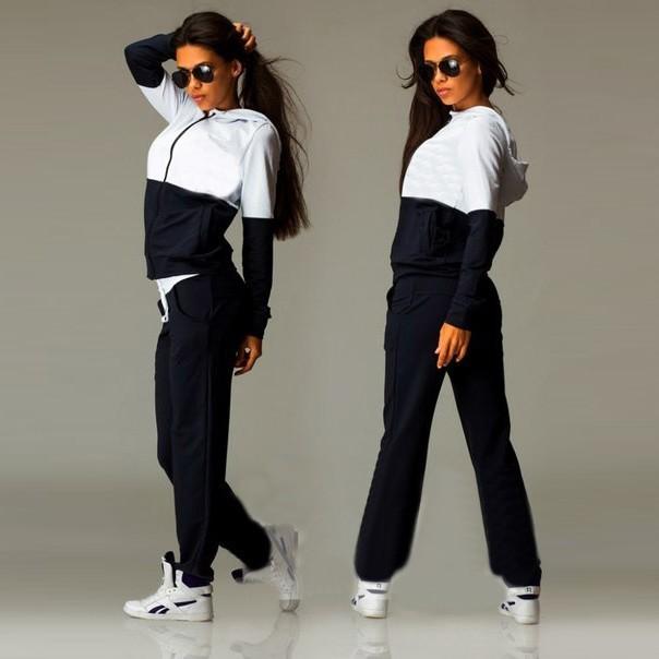 2016 Nowa Wiosna Odzież Przyczynowego 2 Sztuk Kobiety Bluzy z kapturem Bluza Dresy Garnitury Zestaw Bawełna Patchwork Kieszeń Plus Spodnie Dresowe 4