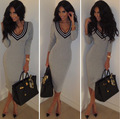 new European fashion sexy nightclub V collar long sleeved knit dress color and leisure