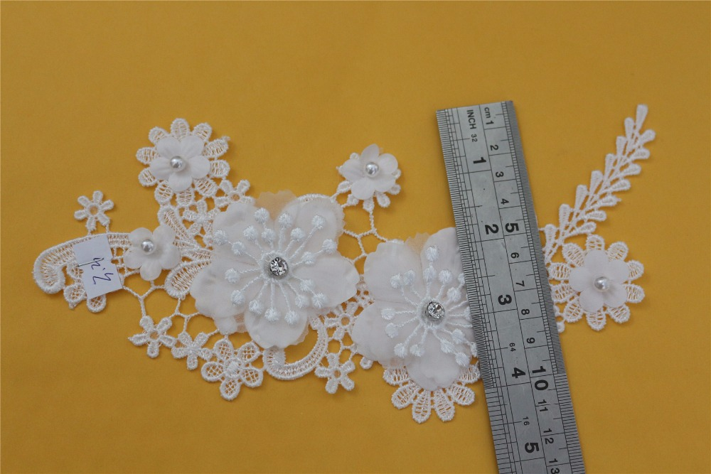 Latest embroidery ivory beading lace applique fabric patches