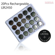 20x 3.6V LIR2450 Rechargeable Button Batteries Charging 500 Times Lithium Coin Cells Battery Replaced CR2450 New