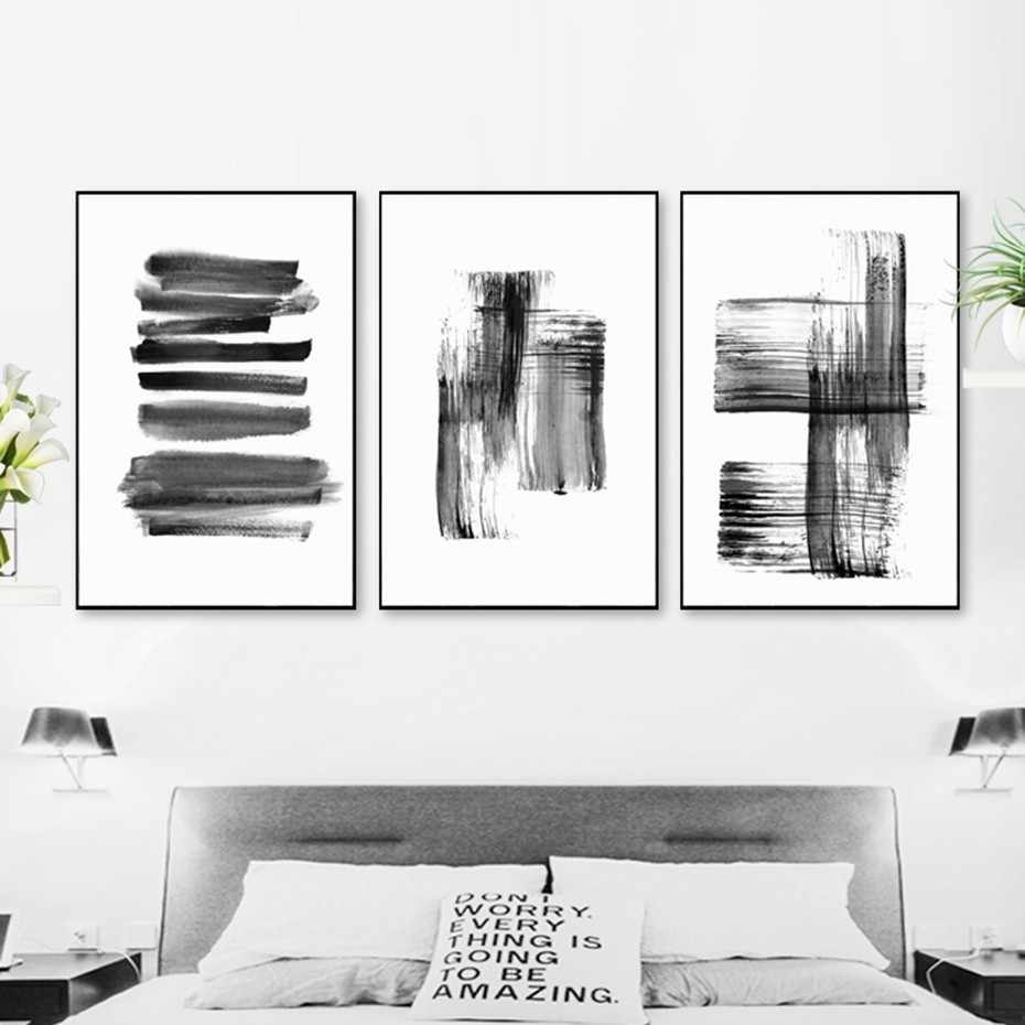 SURE LIFE Abstract Graffiti Ins Black and White Canvas Printing Paintings Posters Wall Art Pictures for Living Room Home Decor