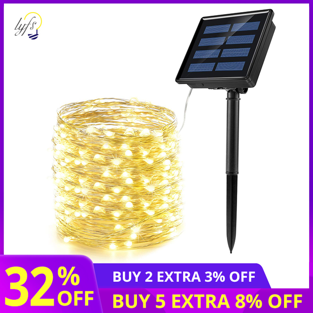 50/100/200 led solar LED Light Waterproof LED Copper Wire String Holiday Outdoor led strip Christmas Party Wedding Decoration