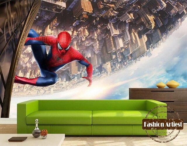 Custom modern 3d kids wallpaper mural spiderman tv sofa boys bedroom living room cafe bar restaurant setting wall background