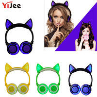 YiJee Bluetooth Headphone V4.2 Wireless Headset Cat Ear Earphone Glowing with LED Light for PC Computer Android iPhone