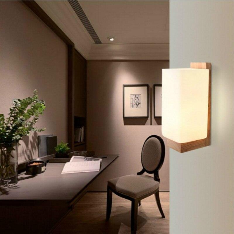 Beminnelijk Morden Wandlamp Nachtlampje Hout + Glas E27 Socket Voor Slaapkamer Foyer Woonkamer Cafe Bar Restaurant Home Dining Kamer Iy121756 Waterdicht, Schokbestendig En Antimagnetisch