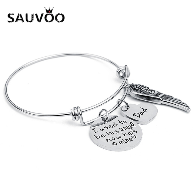 Sauvoo Adjule Stainless Steel Heart Angel Wing Charm Bracelets For Women Engraving I Used To Be
