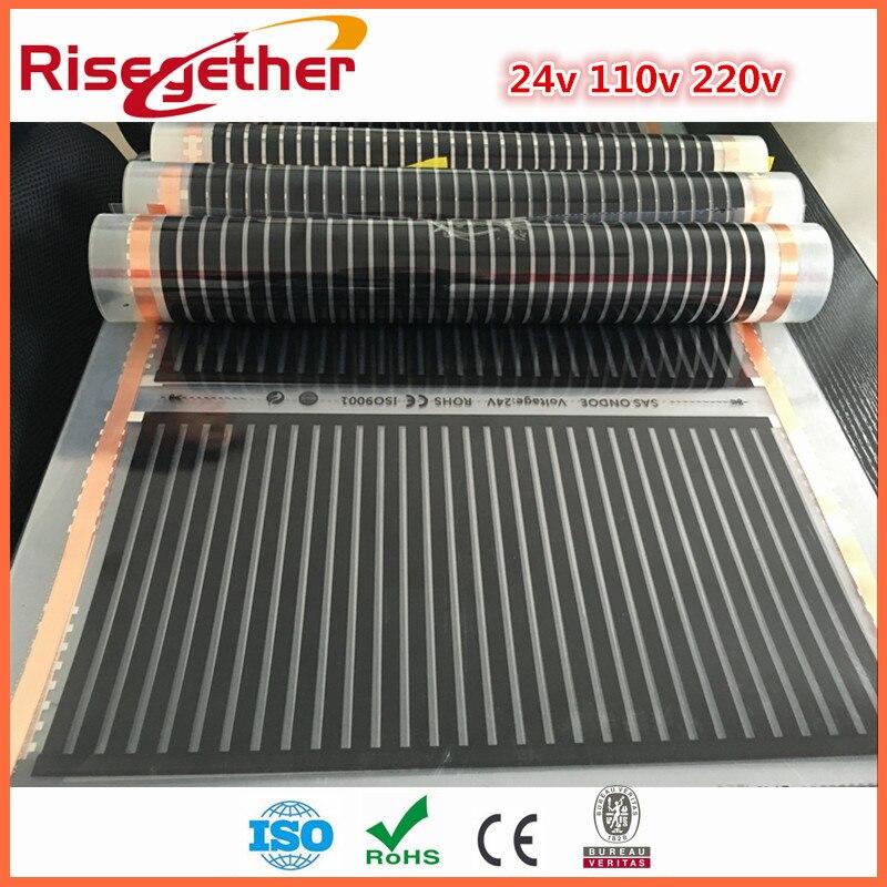 11 Metro Del Envío Libre Sistema de Seguridad y Heathy Piso Caliente 220 w 220 V Flexible Inteligente infrarrojo Lejano PTC de Carbono Película de la calefacción
