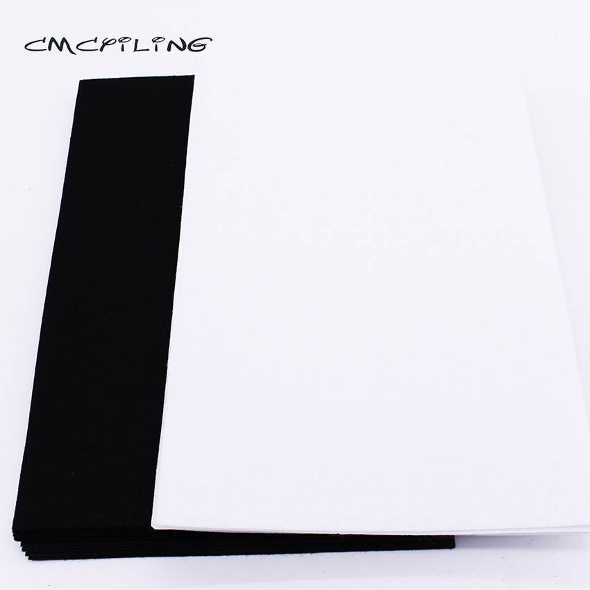 CMCYILING 20 Pcs/lot 20*30cm  Black White Felt Fabric 1 MM Thickness Polyester Cloth For DIY Crafts Scrapbook  Felt Sheet