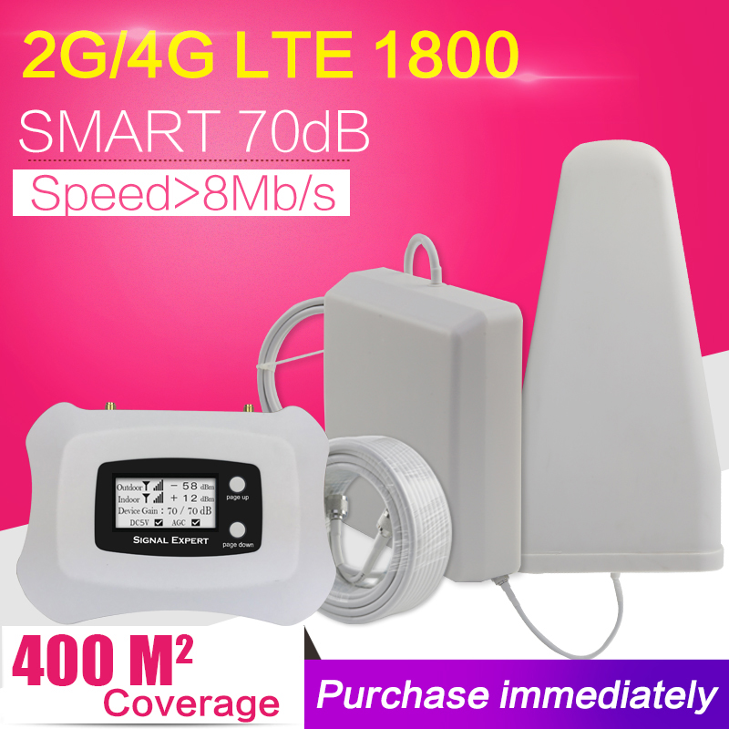 70dB Gain intelligent 20dBm GSM DCS 1800 mhz répéteur 2G 4G LTE 1800 amplificateur de Signal de téléphone portable amplificateur cellulaire ensemble d'antenne