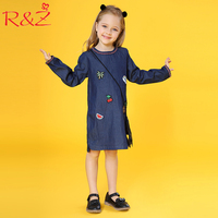R Z 2018 New Spring Fashion Girls Dress Cotton Patch Printing O Neck Long Sleeve Chinese