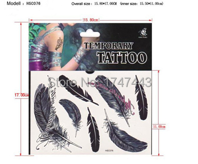 b06187bd6 Hot Sale Temporary Tattoo Stickers Temporary Body Art Supermodel Stencil  Designs Waterproof Feather Tattoo Pattern
