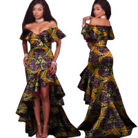 2019 New Autumn African Tribal National Printing Slash Neck Sexy Long Dresses for Women Africa Bazin Riche Maix Dresses WY2248