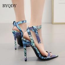 BYQDY Sexy Blue Women Sandals Open Toed High Heels 11CM Buckle Strap Cover Heel Ankle Pumps Size 40