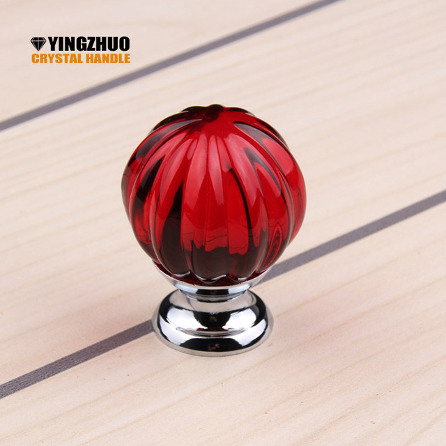 2018 10pcs/set 30mm Red Crystal Glass Door Knobs Diamond Drawer Cabinet  Wardrobe Pull Handle