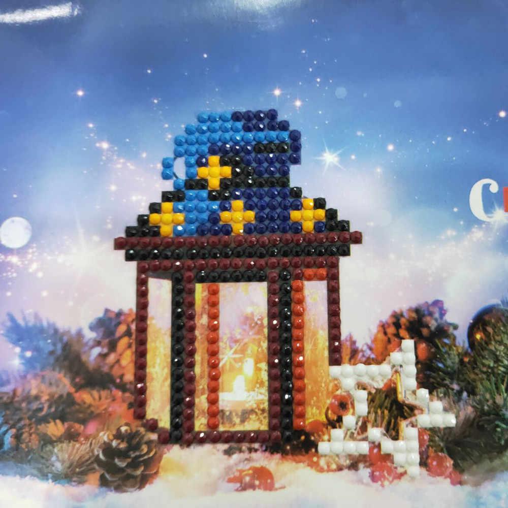 Рождественская открытка Алмазная Милая Мини снеговик мультфильм картина Счастливого Рождества бумажные ремесленные открытки