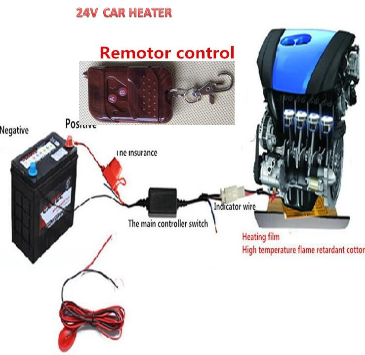 24V car heater for Engine Preheating Heating Car Auto Heater Fan For oil heater from Engine paste the heating film & Remote цены