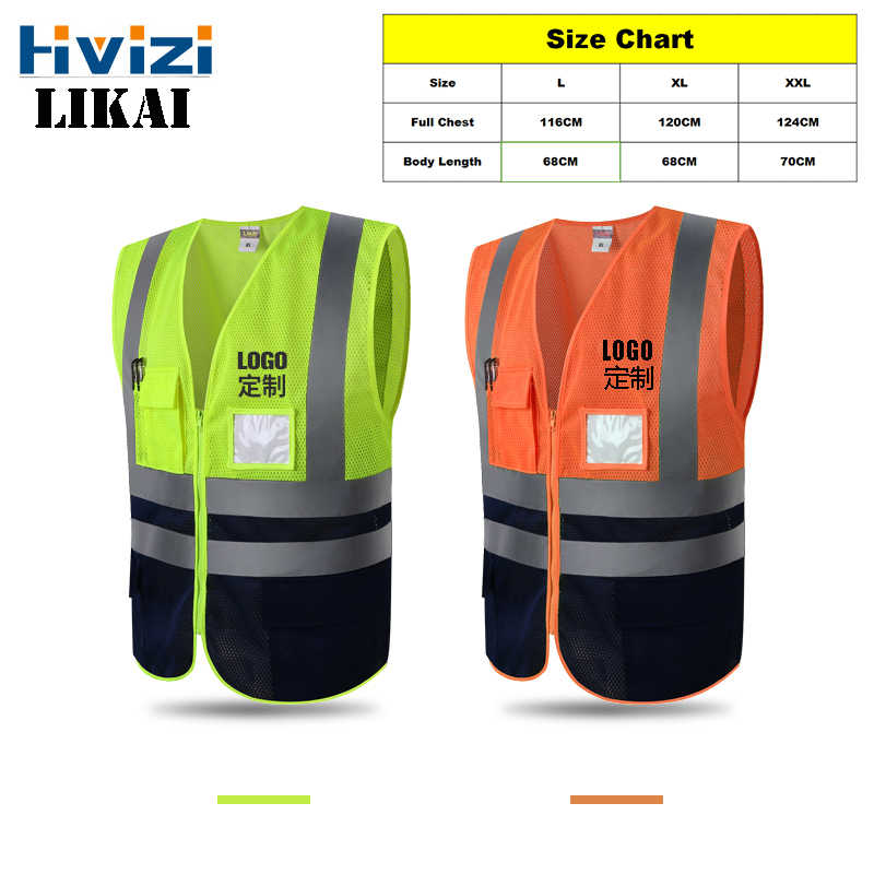 Hivizi Original Brand Vest High Visibility Reflective Safety For Working Mens Waistcoat For traffic Construction Or Running