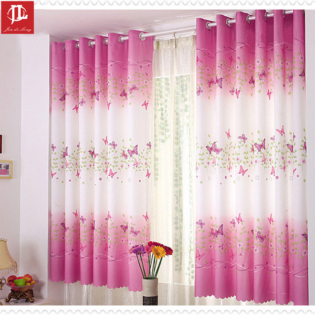 2017 Hot Fresh And Pastoral Style Windows Curtain 2 Meter Height Curtains Printing Butterfly For Living