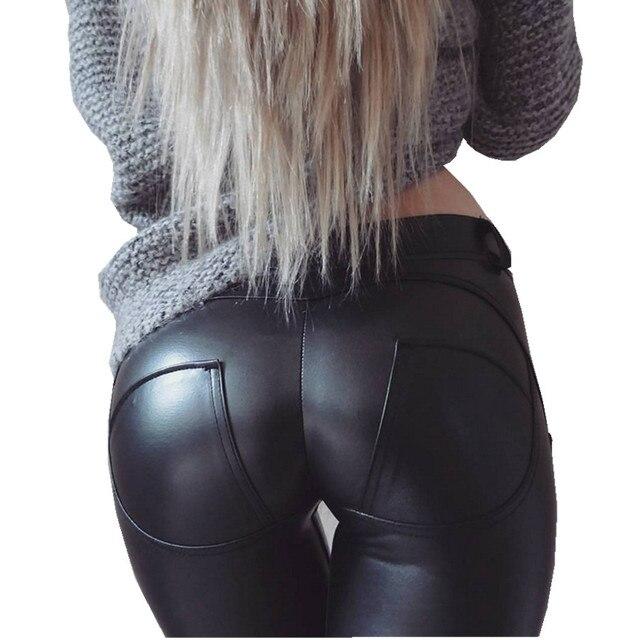 XS-XL Sexy Push Up Freddy Pants Women PU Leather Trousers Low Waist Elastic Fleece Sweatpants Women Pencil Pants Skinny Capris