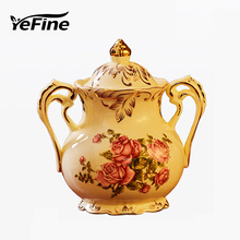 YeFine Ivory Porcelain Sugar Bowl Ceramic Milk Jug Food Storage Containers Kitchen Tools Coffee And Tea Accessories Rose Flower