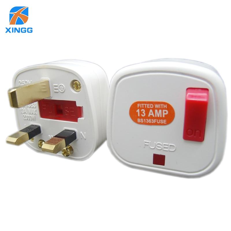 Uk Plug Fused Socket 3 Pins Ac Electrical Power Male Plug
