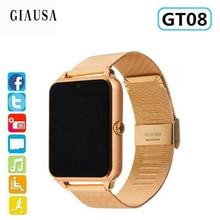 Купить с кэшбэком New Smart Watch GT08 Plus Metal Strap Bluetooth Wrist Smartwatch Support Sim TF Card Android&IOS Watch Multi-languages PK S8 Z60