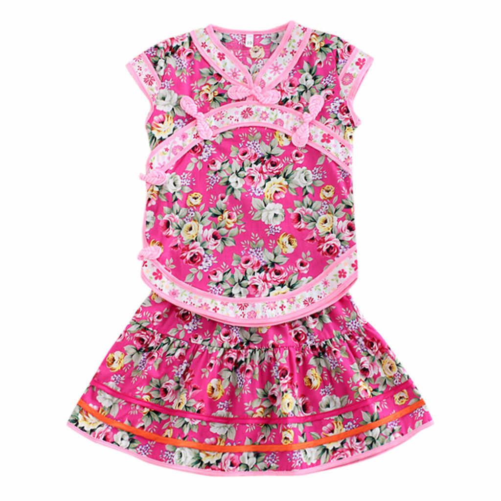 LONSANT 2019 新しい夏の花袍女の赤ちゃん服服幼児スーツファッション中国トップスカートチャイナセット