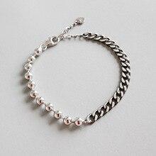 HFYK 925 Sterling Silver Bracelets For Women Black Vintage Bead Chain Bracelet Jewelry Pulseira Feminina Pulseras