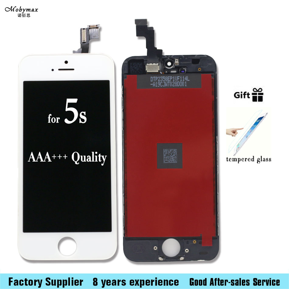 Mobymax LCD Screen For iPhone 5s LCD 100% Brand New A+ Quality LCD For iPhone 5S Screen No Dead Pixel With Cold Glue Frame