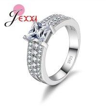 JEXXI Luxury Multi Lined Rhinestone Wide Wedding Ring Band Sparkling Big Stone Mosaic 925 Silver Rings Romantic Women Jewelry