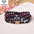wholesale supply of male and female counter multi ring bracelet with garnet six words 108 beads crystal jewelry sales