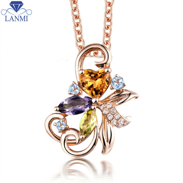 Colorful 18kt rose gold citrine diamond pendant natural amehystt colorful 18kt rose gold citrine diamond pendant natural amehystt stone pendant for girl wp089 aloadofball Image collections