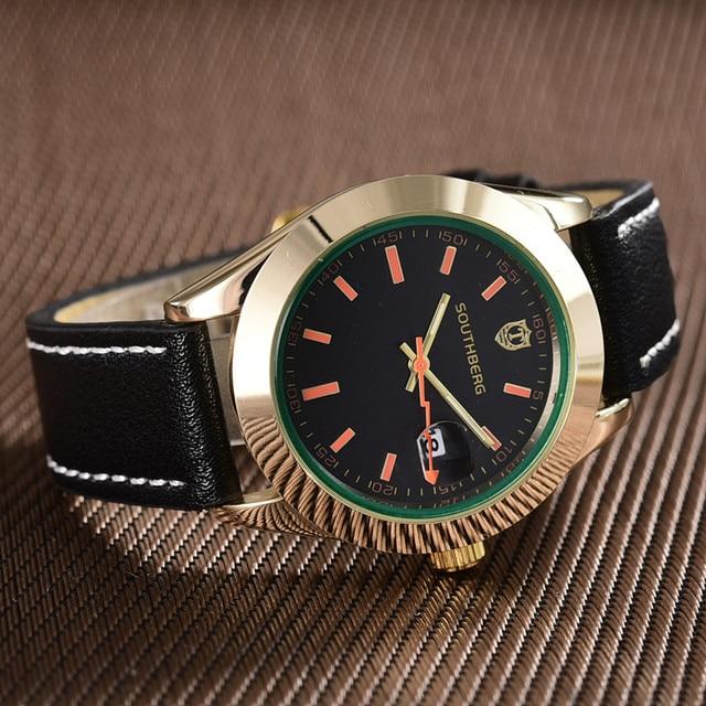 2018 SOUTHBERG Men Watch Sport  Fashion Wristwatch Montre Homme Genuine Leather Relojes Hombre  Quartz Male Business Watch