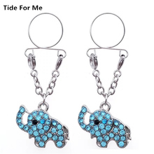 2PCS  Fashion Blue White Animal Elephant Crystal Non pierced Clip On Nipple Ring Fake Nipple Dangle Adjustable Body Jewelry Gift