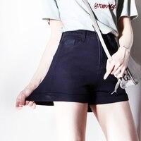 Brand Desig Summer Fashion Women Acid Wash Stretch Bull High Waist Jean Cuff Shorts Casual Denim