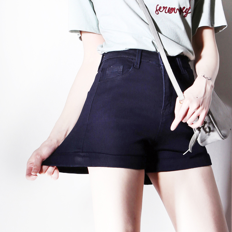 Summer Fashion Women Acid Wash Stretch Bull High-Waist Jean Cuff   Shorts   Casual Denim Faded Hot Elastic Denim   Shorts
