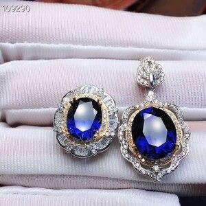Image 4 - MeiBaPJ parfait saphir pierre gemme ensemble de bijoux 925 en argent Sterling 2 Siut Fine luxe bijoux de mariage pour les femmes