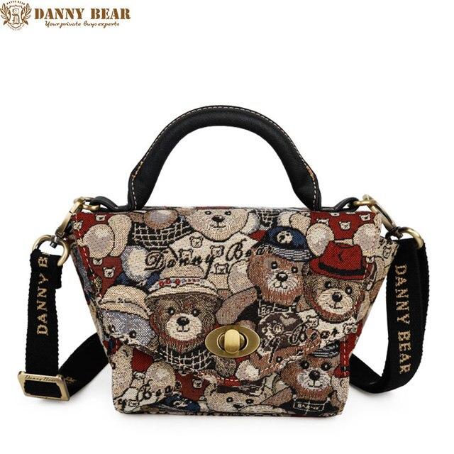 749498fafe DANNY BEAR Women Vintage Messenger Bags Fashion Korean Small Crossbody Bag  For Teenage Girls Kawaii Brown Tote Bolso femenino
