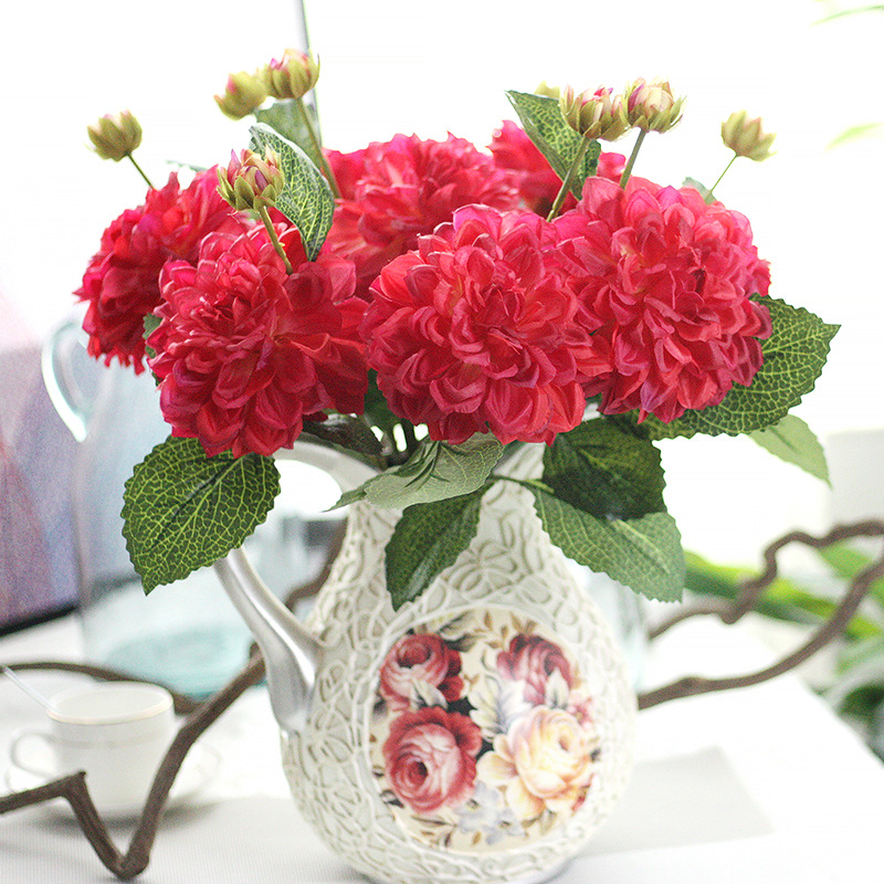 ≧5 pcs Silk flower wedding roses dahlias Artificial flowers fall ...