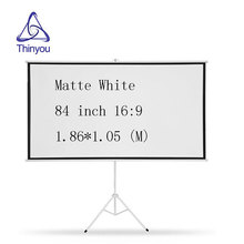 Thinyou Portable Foldable Tripod Projector Screen 84 Inch 16:9 Diagonal HD Floor Stand Bracket Pull Up High quality Matt White